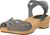 Swedish Hasbeens - Ornament Clog Dark Grey Nubuck