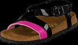 Papillio - Mykonos Slim Birkoflor Patent Black/Fuchsia